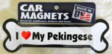 """Dog Magnetic Car Decal, Bone Shaped, I Love My Pekingese, Made in USA, 7"""""""