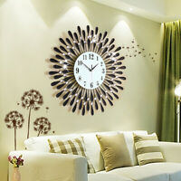 60CM CLEAR DIAMANTE BLACK SUNFLOWER METAL SPIKED WALL CLOCK BEADED JEWELED HOT