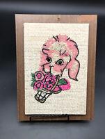 """Vintage Pink Poodle Flowers Gravel Pebble art   Mid Century 60's decor 7"""" X 9.5"""""""