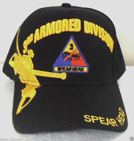 MILITARY CAP 3RD ARMORED DIVISION ARMY BLACK HAT SPEAR HEAD