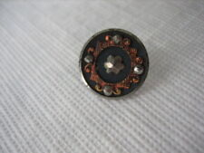 Vintage Small 1/2 Inch Metal Button, Copper Frame with Cut Steel Star - M99