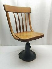 Vintage Antique Industrial Child's School Desk Chair Metal Base Oak Wood Iron