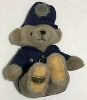 "MerryThought Teddy Bear Plush Police 9"" England Stuffed Animal Hat Blue Uniform"