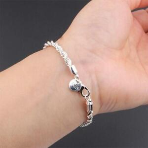 1PCSimple Stainless Steel Bracelets Twisted Rope Women Charm Bangle Silver Chain