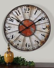 "Vintage Round Wall Clock Antiqued Ivory Red 29"" Rustic Primitive Large Numbers"