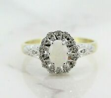 9ct Yellow Gold Opal and Diamond Cluster Ring (Size Q 1/2)