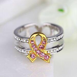 Breast Cancer Awareness Pink Ribbon Ring Hope Ring