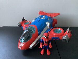 Rare Spider-Man Figure Jet Head Quarters Playskool Hasbro Playset Toy Marvel Set