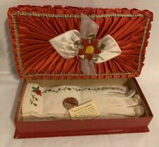 Vtg 50s Embroidered Wool Gloves New w/ Tags In Beautiful Red Gift Box Nos Rare!