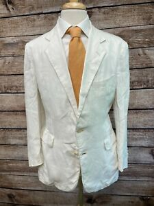 Vintage Polo Ralph Lauren Linen Sportcoat Size 40R White Made in USA Jacket