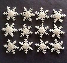 12 WHITE EDIBLE SUGARPASTE SNOWFLAKES CHRISTMAS/FROZEN THEME CUPCAKE/CAKE TOPPER