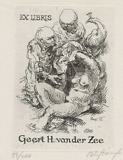Petr HAMPL Susanna im Bad Pfau exlibris Erotic Nude Bathing C3 Etching Peacock