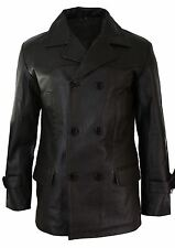Mens 3/4 Double Breasted Real Leather Dr Who Kreigsmarine Uboat Jacket