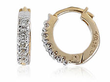 Pave 0.16 Cts Natural Diamonds Hoop Earrings In Solid Certified 14K Yellow Gold