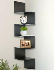 5-Tier Wall Mount Corner Wooden Shelves - black
