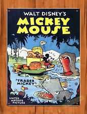 TIN SIGN Walt Disney Mickey Mouse Trader Mickey Jungle Cartoon Movie Art Poster