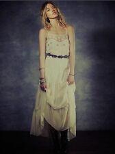Free People Stardust White Ivory Beaded Chiffon Mesh Maxi Dress Gown XS Rare