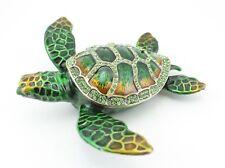 Big Green Sea Turtle Fish Jewelry Trinket Box Decorative Collectible 02099