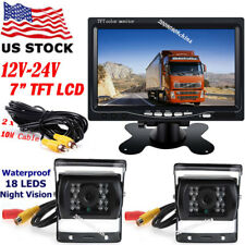 """12V-24V 7"""" LCD Monitor Vehicle Rearview System for Bus Truck +2x Backup Camera"""