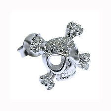 NEW Men's Sterling 925 Silver and CZ Skull Stud UK Quality Earring 11 x 12mm