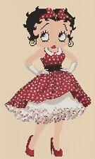 betty boop in red dress Cross stitch chart - Flowerpower37-uk..free uk P&p.