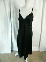 "VTG 60'S SEARS ""THE DOESNT SLIP""  Black NYLON SLIP / NIGHTGOWN SZ 36"