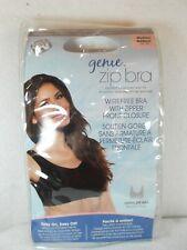 Genie Zip front bra wirefree Medium Black removable pads seamless design NEW