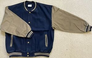 Men's Denim Baseball Jacket - Dark Blue Denim / Khaki Cotton Sleeves - Size XL