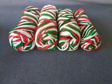 Lot of 4 Skeins Unbranded/Unwrapped Partial Yarn Red/Green/white- Total 8.9 oz