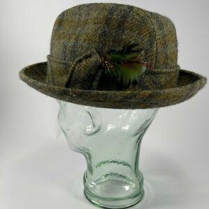 Sears Fedora Wool Hat Men's 7 1/8 Plaid Green Tweed Cap Vintage