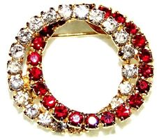 Red Ruby Color Crystal Pin Brooch Vintage Stunning Gold Tone Clear And