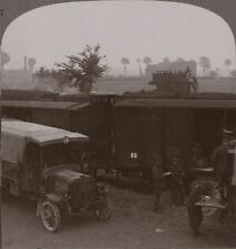 Troops & supplies rushed from railhead to the firing line - WW1 Stereoview #027