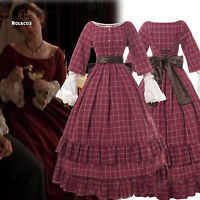 Women Civil War Red Victorian Dress American Pioneer Colonial Prairie Dress