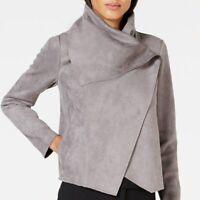 ANNE KLEIN Asymmetrical Jacket Faux Suede Degas Grey Snap Women's size L NWT NEW