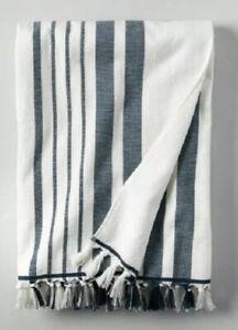 Hearth and Hand Magnolia Stripe Cotton Beach Towel Navy Sour Cream New Pool