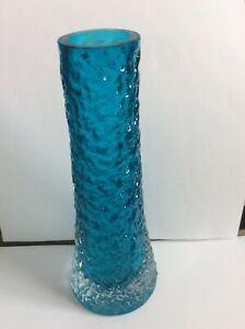 Whitefriars  Large  Finger Vase in Kingfisher Blue Geoffrey Baxter