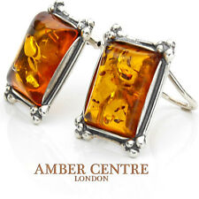 Baltic Amber Clip on Earrings 925 Silver Handmade - CL067   RRP £60