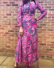 Vintage 60s 70s Rembrandt Cotton Pink Purple Psychedelic Boho Hippy Maxi dress 8