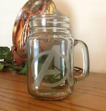 Avengers 16 oz Glass Pint Jar Mug (Glass Etched)