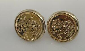 Modern Half Sovereign 22 ct Gold Cufflinks in 9ct Gold Mounts