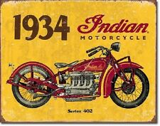 1934 Indian Motorcycles Advertisement Ad Distressed Garage Decor Metal Tin Sign