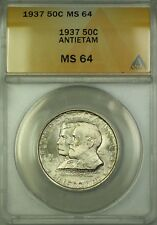 1937 Antietam Commem Silver Half Dollar 50c Coin ANACS MS-64 Very Choice BU