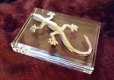 Metal Chrome Gecko Geico Lizard Acrylic Executive Desk Top Paperweight
