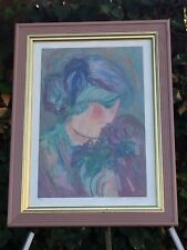"""BARBARA A WOOD Hand Signed ABSTRACT VINTAGE FRAMED SERIGRAPH """"Wildflowers"""" w COA"""