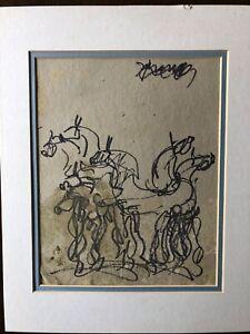 Purvis Young Original Pen & Paint, Van Gogh Picasso Miro of the Ghetto Miami COA