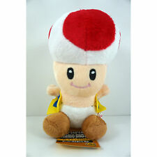 "NEW Super Mario Brothers Bros Red Mushroom Toad 7"" Soft Plush Toy Doll + GIFT"
