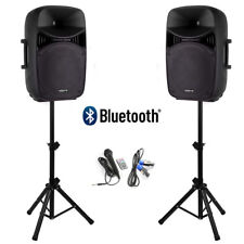 "PA System Pair of Speakers 15"" 1000w Powered Set with Microphone & Stands"