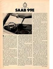 1970 SAAB 99E  ~  NICE ORIGINAL 4-PAGE ROAD TEST / ARTICLE / AD