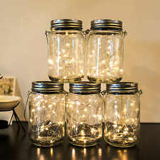 Outdoor Solar Lanterns with Mason Jar Lid Led Fairy String Lights for Patio Lawn