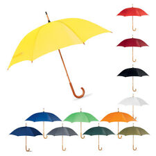 """42"""" Classic Wedding Umbrella with Wooden Curved Handle - Manual Opening Brolly"""